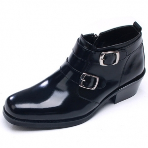 33118874d1625 http   what-is-fashion.com 3186-24719-. Previous. Mens chic black leather  square toe high heels side zip double buckle ankle boots ...