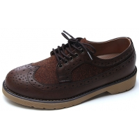 Mens brown two tone wing tip punching round toe eyelet lace up low heels oxfords shoes