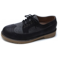 Mens black two tone wing tip punching round toe eyelet lace up low heels oxfords shoes