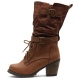 Womens rock chic vintage mid-calf high heels boots