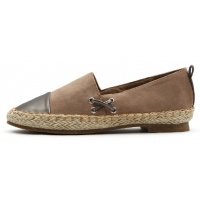 Womens lovely two tone espadrille flat shoes beige