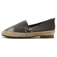Womens lovely two tone espadrille flat shoes gray