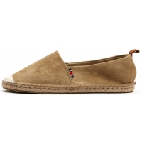 Womens lovely two tone synthetic suede espadrille flat shoes brown