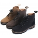 Mens round toe side zip eyelet lace up brown synthetic suede combat rubber sole ankle boots