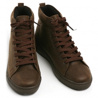Mens synthetic leather vintage high tops shoes brown made in KOREA US 6.5 - 10.5