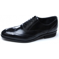 Mens chic wing tip round toe Black Leather lace up closure punching detail dress shoes
