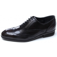Mens chic wing tip round toe Brown Leather lace up closure punching detail dress shoes