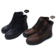 mens brown synthetic leather padding entrance zip lace up combat sole ankle boots