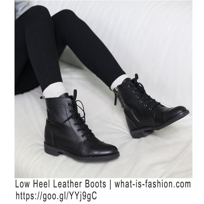 Womens military low heel ankle boots