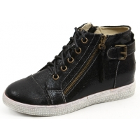 Womens straight tip contrast stitch both side zip eyelet lace up back belt strap hidden insole high top fashion sneakers