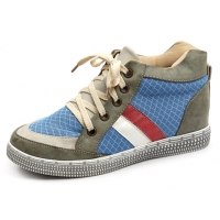 Women khaki vintage multi color eyelet lace up hidden insole high top fashion sneakers