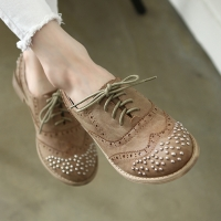 Womens rock chic front & back stud wing tip punching brown synthetic leather lace up flat oxfords fashion shoes