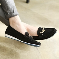 womens unique front horse bit decoration U line wrinkle stitch black synthetic leather comfort wedge flat loafers