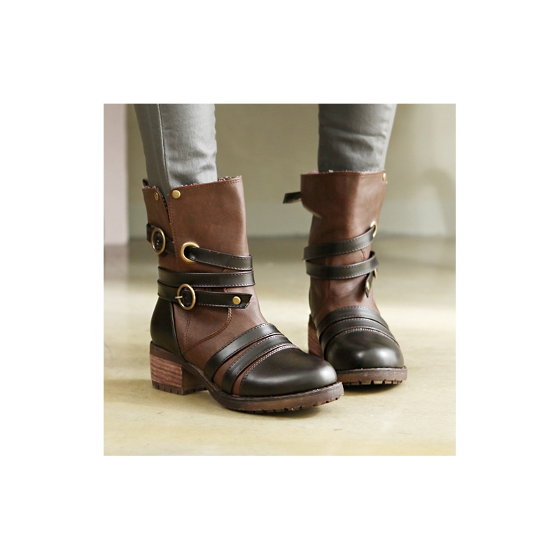 Womens Strap Chunky Heels Ankle Boots