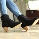 womens black synthetic suede round toe comfort fit side zip chunky med heels ankle boots