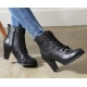 womens black synthetic leather steam punk eyelet lace up round toe straight tip combat sole chunky high heels ankle boots