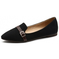 Womens lovely front belt strap decoration black synthetic leather comfort fit flat shoes