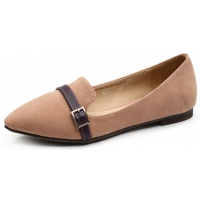 Womens lovely front belt strap decoration pink synthetic leather comfort fit flat shoes