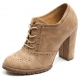 womens chic round toe punching detail lace up combat sole chunky high heels oxfords