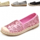 womens two tone straight tip black pink gold silver glitter spangle detail espadrille flat fashion shoes