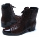 Mens brown leather classic steam punk style eyelet lace up two tone wrinkle glossy toe ankle boots