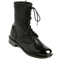 Mens black real Leather side zipper lace up combat boots US 6.5 - 10.5