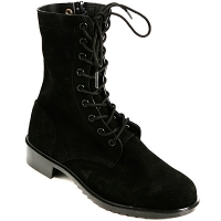 Mens black real suede side zipper lace up combat boots US 6.5 - 10.5