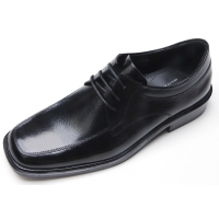 mens black real Leather square toe U line stitch detail lace up dress shoes US5.5-11.5