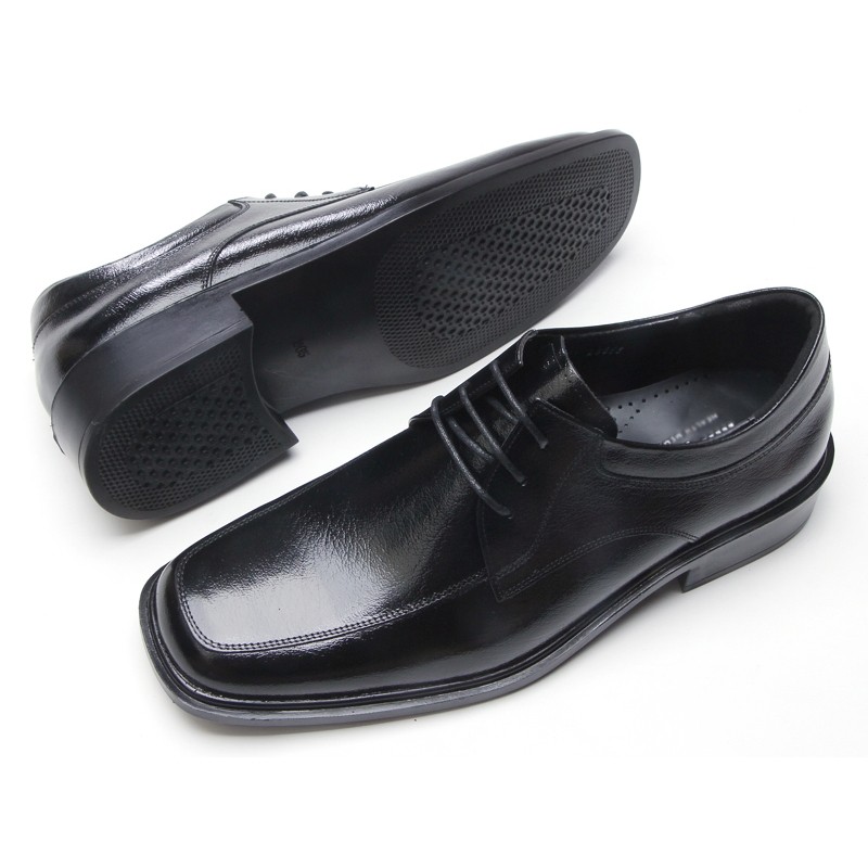 Mens Black Real Leather Square Toe U Line Sch Detail Lace Up Dress Shoes