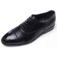 mens black synthetic leather straight tip round toe lace up low heel dress shoes made in Korea US7-10.5