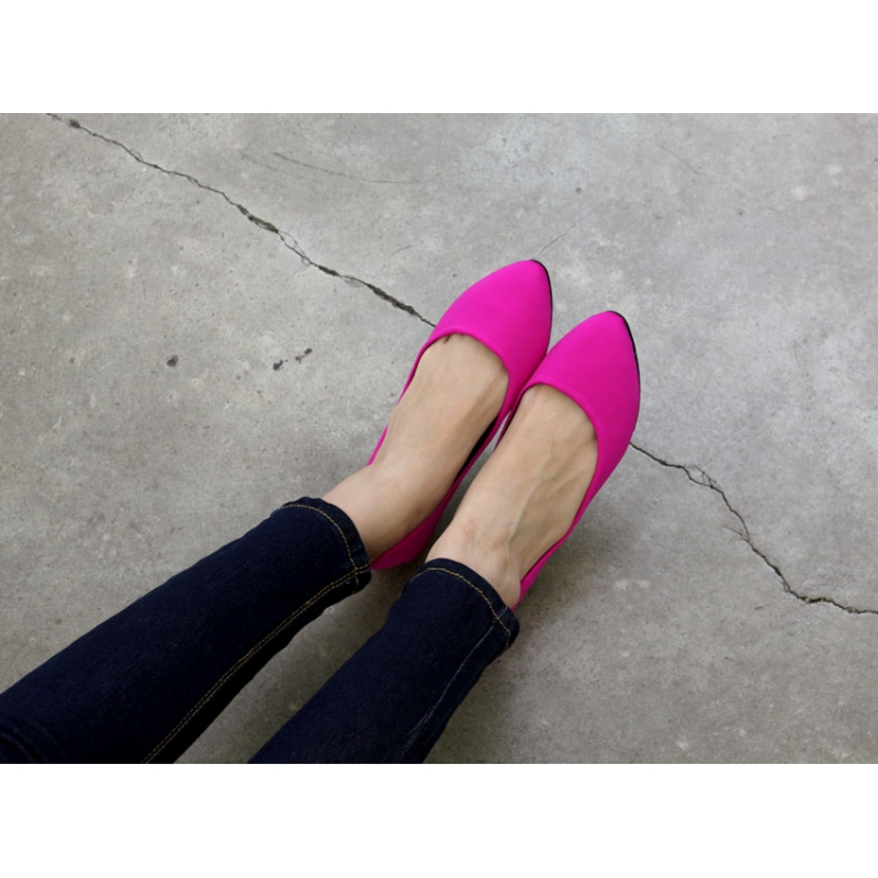 womens hot pink synthetic fabric pointed toe flat 12efacc0bd