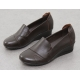 Womens brown round toe comfort low wedge heels