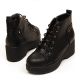 women's rock chic black synthetic leather round toe thick platform wedge heels boots