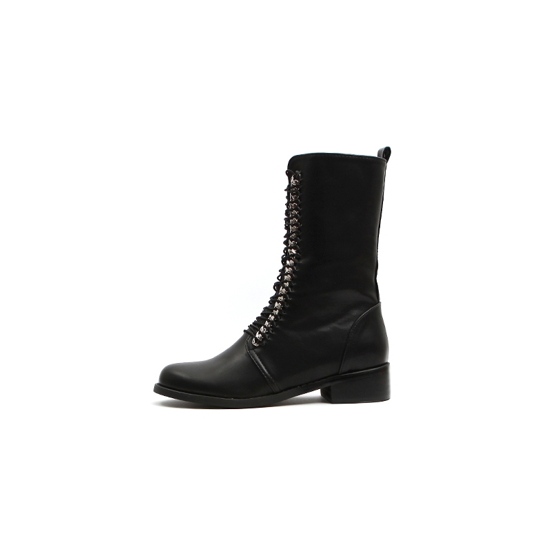 Leather Back Lace-Up Mid-Calf Boots
