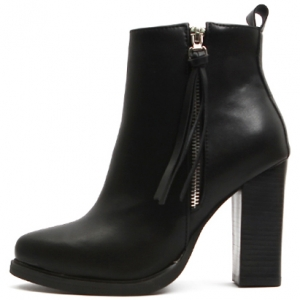 Women's Fashion Beads Mid Chunky Heels Pointed Toe Faux Suede Ankle Boots With Zipper