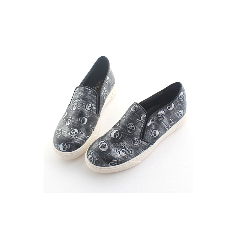 006aa17e9ff81 ... Womens Punk Goth vintage skull increasing height hidden insole loafers  shoes black brown US5-US10 ...