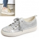 Womens glitter gold silver cubic wide lace up low heel fashion sneakers