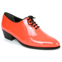 Mens orange plain toe lace up high heels oxfords korea comfortable dress shoes