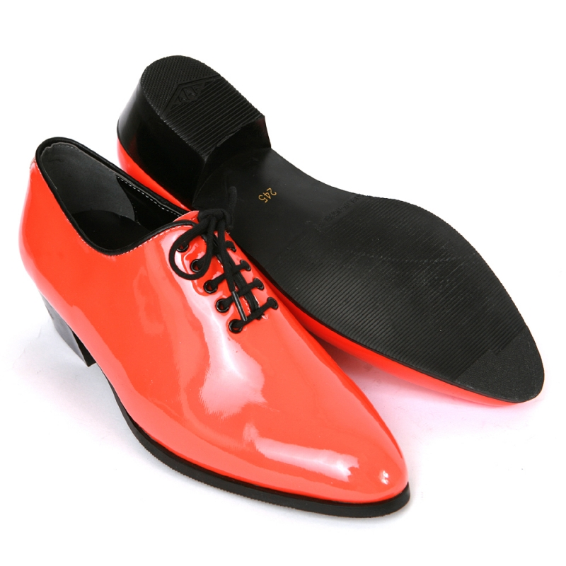mens glossy orange plain toe lace up high heels oxfords