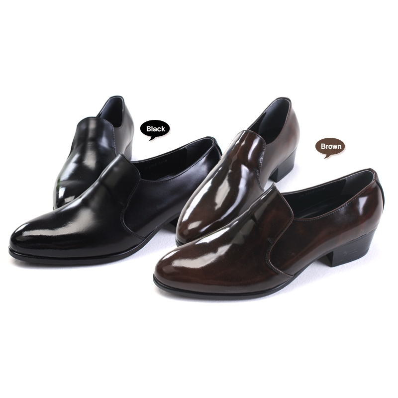 Mens Round Toe Brown Cow Leather Rubber Sole Loafers High Heels Dress Shoes Us 6 5