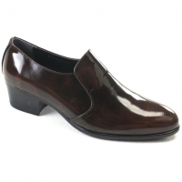 Mens round toe brown cow leather rubber sole loafers high heels Dress shoes US 6.5 - 10.5