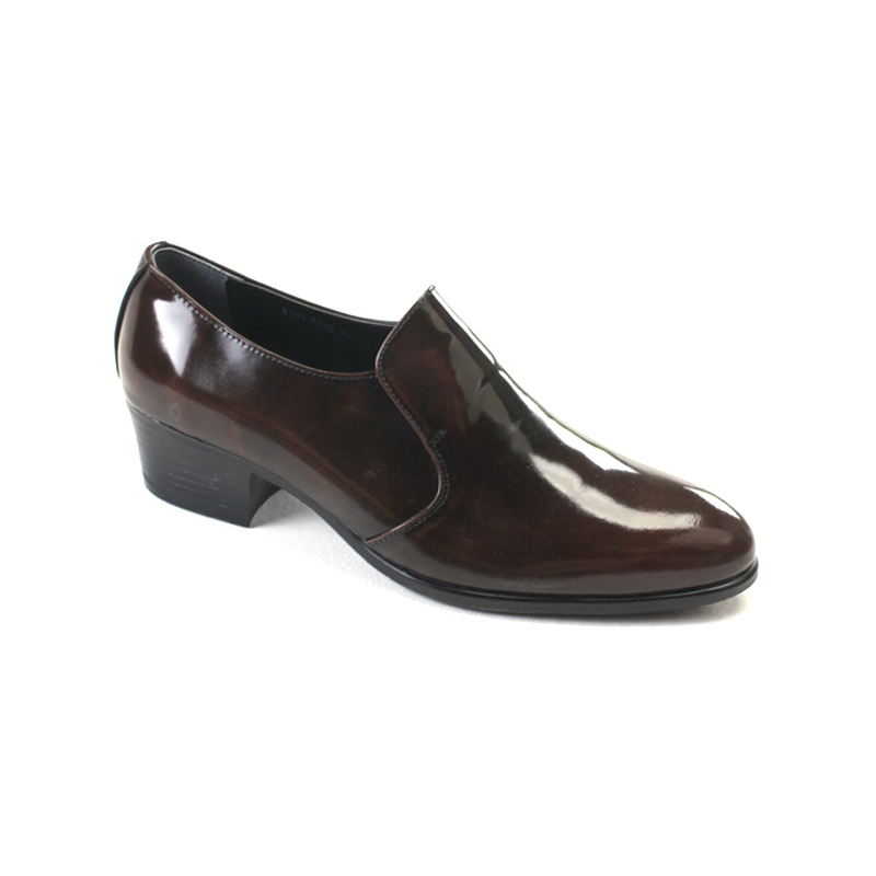 Men S Brown Cow Leather High Heel Loafers