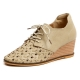 Womens synthetic leather mesh Braiding lace ups wedge heels comfort shoes black beige US5.5-US8