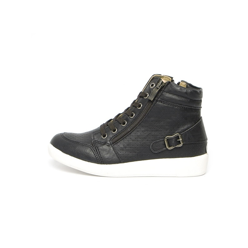 back buckle rising toe lace up sneakers side zip closure shoes
