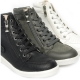 women's rock chic back buckle rising toe lace up sneakers side zip closure shoes black Khaki White