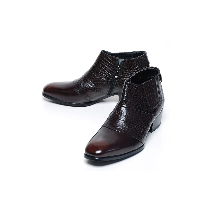 mens real leather side zipper ankle boots brown color made