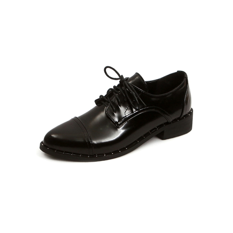 009ee325f4d Womens synthetic leather glossy straight tip lace up stud flat heels black  gray shoes