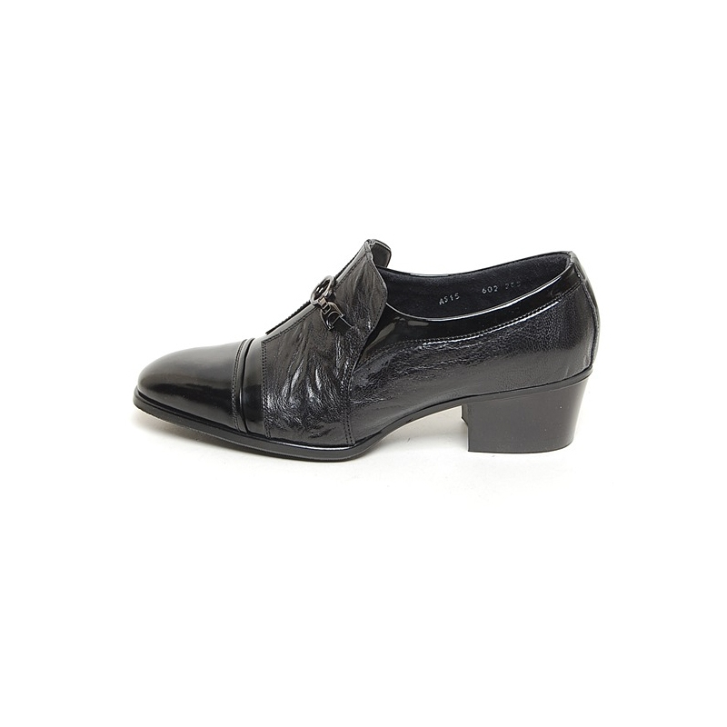 mens black cap toe cow leather rubber sole loafers cuban