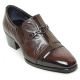 Mens brown cap toe cow leather rubber sole loafers cuban heels Dress shoes US 6.5 - 10