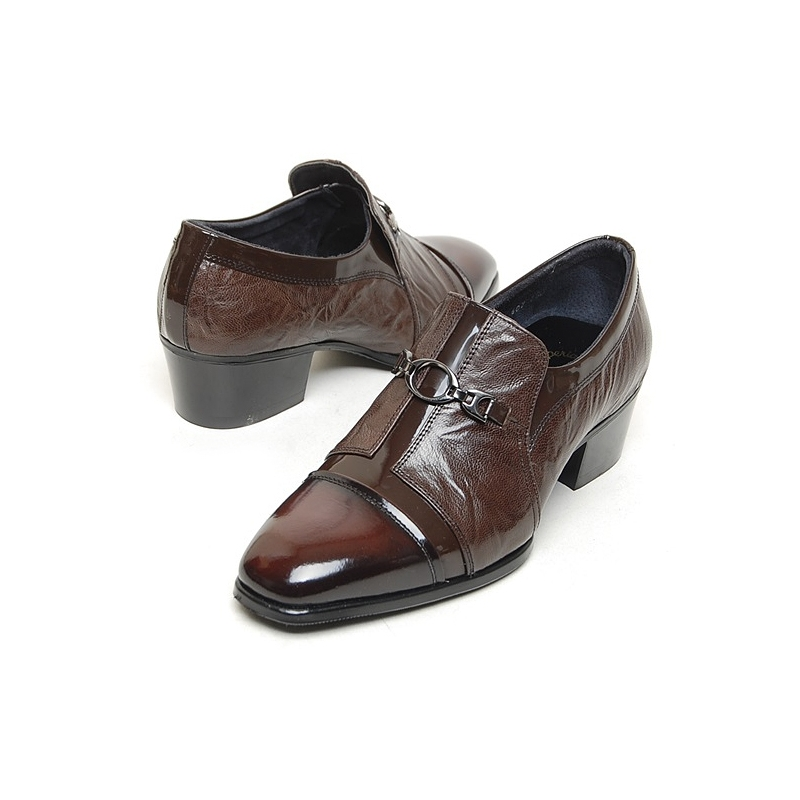 mens brown cap toe cow leather rubber sole loafers cuban